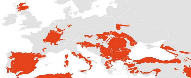 Extant distribution area of the European wildcat (IUCN Red List of Threatend Species 2015)